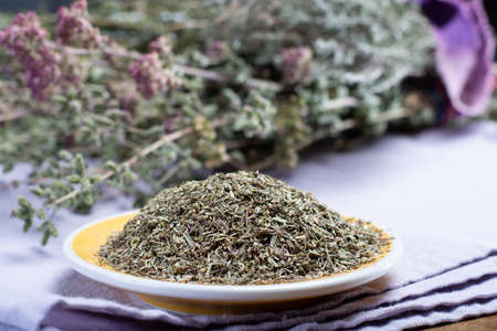 Herbes de Provence, mixture of dried herbs considered typical of the Provence region, blends often contain savory, marjoram, rosemary, thyme,  oregano, lavender leaves, used with grilled foods and stews, close up Stok Fotoğraf
