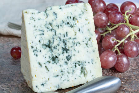 Piece of Blue Auvergne semi-hard AOP French blue cheese made from raw cow milk in Auvergne, France served as dessert with grapes
