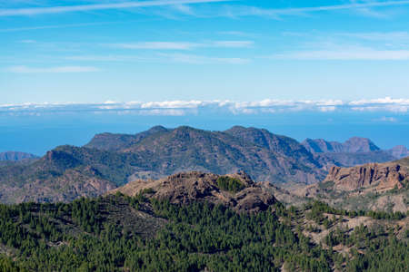 Gran Canaria island mountains and valleys landscape, view from highest peak Pico de las Nieves