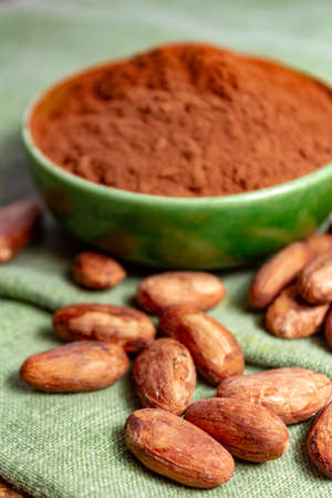 Cocoa or cacao beans and powder, used in hot chocolate drink, chocolate, butter and solids close up