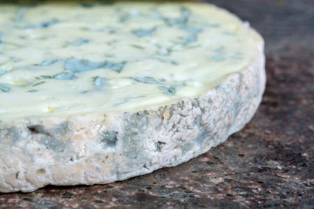 Round piece of Fourme Ambert semi-hard French blue cheese made from raw cow milk