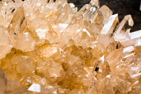 Huge crystal of colorless gemstone quarts, geology mineral background close up Stock Photo