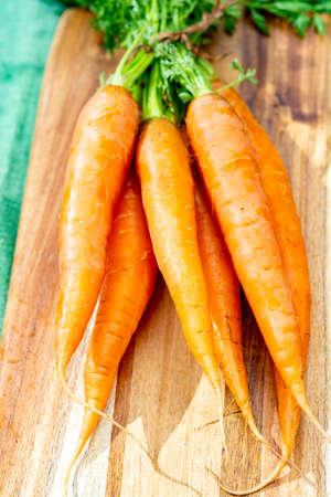 Bunch of fresh orange summer carrots, new harvest of healthy vegetables close up