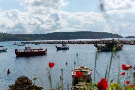 Landscape with colorful spring wild flowers, quiet sea harbor and traditional greek fisher boats Stock Photo