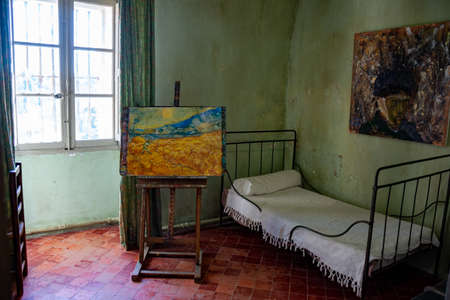 St Remy de Provence, Bouches du Rhone, Provence, France, 11.05.2019. Reconstruction of Vincent Van Gogh's room in the monastery of St. Paul de Mausole.