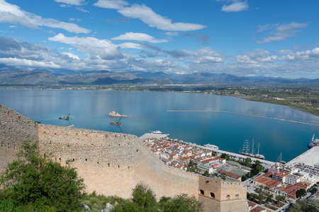 Landscape with view on Nafplio from above, seaport town in the Peloponnese in Greece, capital of  region Argolis, tourist travel and vacation destination