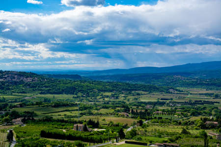 Landscape with fruitful Luberon valley in Provence, South of France, view in summer Reklamní fotografie