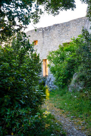 Medieval castle ruines in Provence during sunrise, South of France, vacation and tourist destination