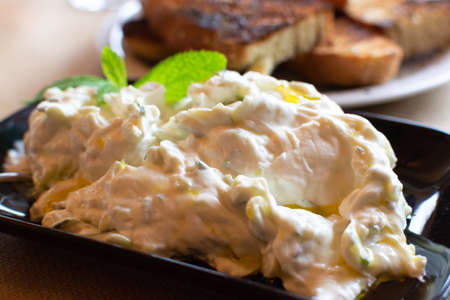 Tzatziki, cacik or tarator,  dip or sauce from Southeast Europe and Middle East made of salted strained yogurt mixed with cucumbers, garlic, salt, olive oil, vinegar or lemon juice, and dill, mint, pa