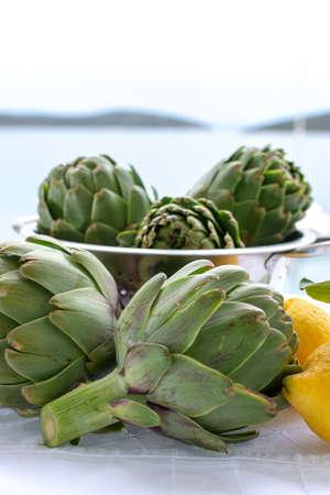 Heads flowers of fresh raw green artichokes plants from artichoke plantation, new harvest in Argolida, Greece, ready to cook with fresh lemon