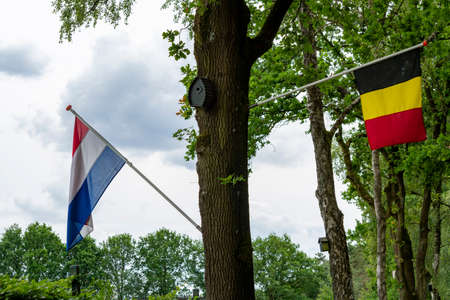 Borders inside European Union between Netherlands and Belgium, only two flags on tree