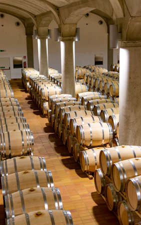 Big dark wine cellar with old oak barrels, production of red dry or sweet wine in Marsala, Sicily, Italy