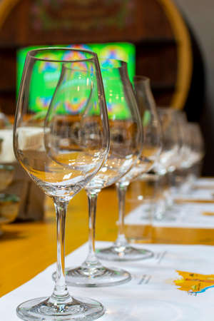 Professional wine tasting event in winery, sommelier course, clean empty wine glasses for different wines 写真素材