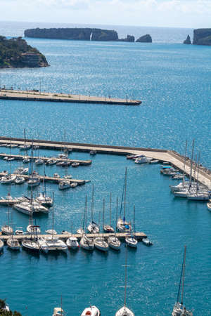 View on Pylos, with historically name Navarino, seaport town in Messenia, Peloponnese, Greece, main harbour on Bay of Navarino, holiday destination for eco tourism and water sport. Stock Photo - 124905203