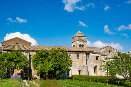 St Remy de Provence, Bouches du Rhone, Provence, France, 11.05.2019. Yard in  the monastery of St. Paul de Mausole. Editorial