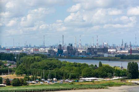 Industrial part of old Belgian city Antwerpen view from above, industrial landscape
