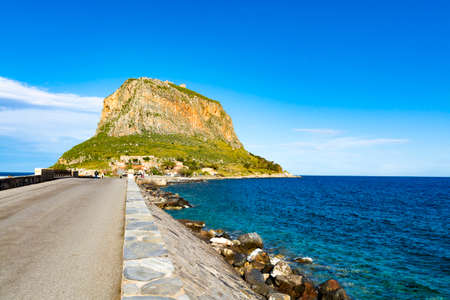 Protected ancient fortress and town on island rock Monemvasia, view from mainland, Peloponnese treasures, Greece 版權商用圖片