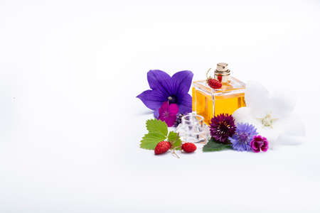 Creation of perfume essence, summer flowers sweet light fragrance, perfume bottle and colorful aromatic flowers isolated close up copy space