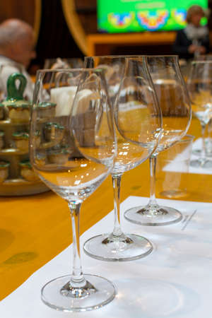 Professional wine tasting event in winery, sommelier course, clean empty wine glasses for different wines Stock Photo