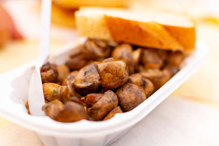 Vegetarian street food in Germany, roasted champignons mushrooms with sour cream and bread