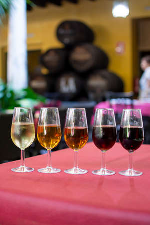 Sherry wine tasting, selection of different jerez fortified wines from dry to sweet and very sweet, Jerez de la Frontera, Andalusia, Spain Stock fotó