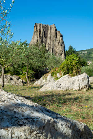 View on natural Monument Campo Soriano and olive trees, Lazio, Italy