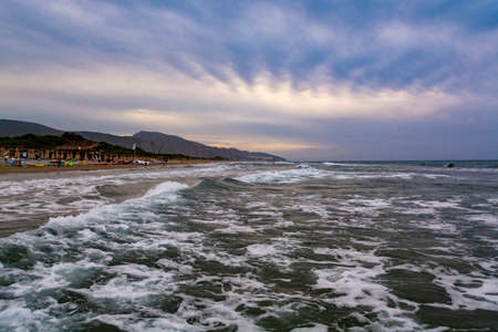Blue sea water waves and sandy beach, seascape