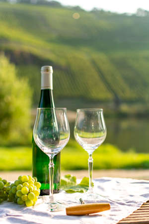 Famous German quality white wine riesling, produced in Mosel wine regio from white grapes growing on slopes of hills in Mosel river valley in Germany, bottle and glasses served outside in Mosel valley