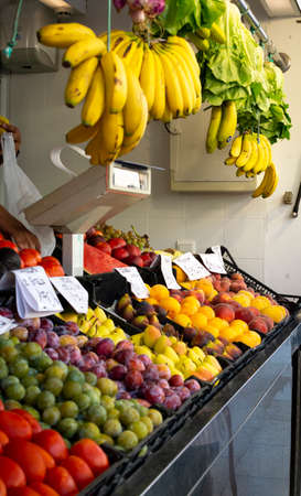 Fresh harvested fruits and vegetables from farmer for sale on weekly spanish market in Andalusia, Spain, close up Stockfoto