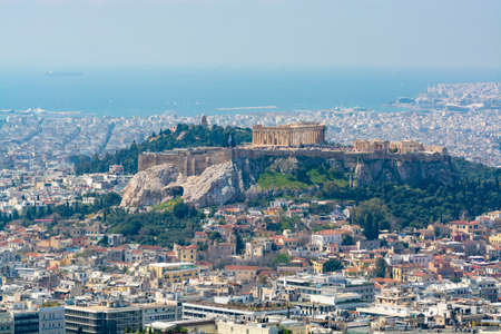 Athens, capital of Greece, in spring, view from hill, cityscape with streets and buildings, ancient urbal culture Standard-Bild