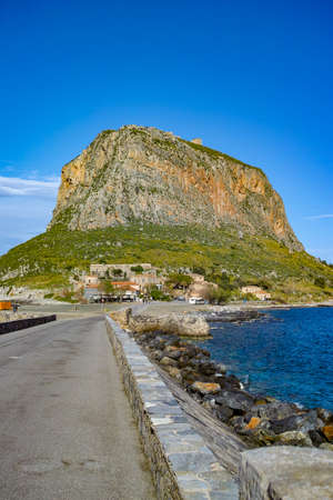 Protected ancient fortress and town on island rock Monemvasia, view from mainland, Peloponnese treasures, Greece