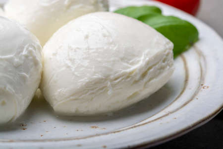 Cheese collection, balls Italian soft white cheese mozzarella with basil close up