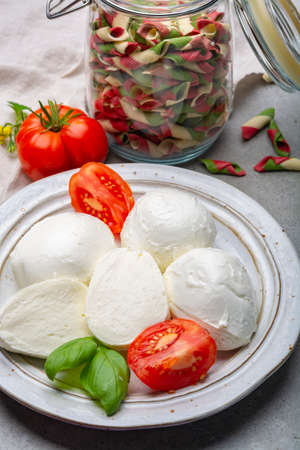 Cheese collection, balls Italian soft white cheese mozzarella with tomato and basil