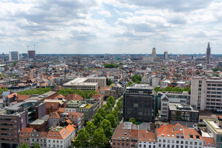Cityscape, old Belgian city Antwerpen, view from above in summer