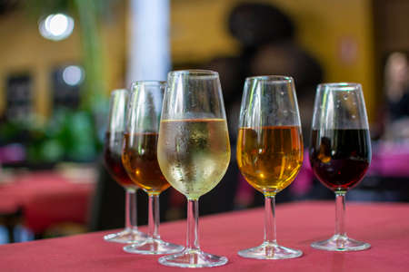 Sherry wine tasting, selection of different jerez fortified wines in glasses from dry to very sweet, Jerez de la Frontera, Andalusia, Spain