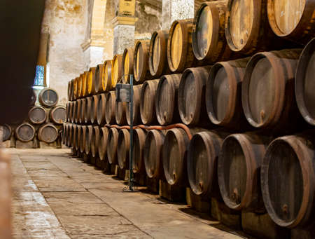 Production of fortified jerez, xeres, sherry wines in old dark oak barrels in sherry triangle, Jerez la Frontera, El Puerto Santa Maria and Sanlucar Barrameda Andalusia, Spain 版權商用圖片