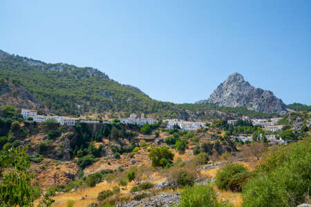 Route of white Andalusian villages, small town Grazalema located in Sierra de Grazalema, Andalusia, Spain in summer