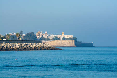 View from Atlantic ocean on old part of Cadiz, Andalusia, Spain in summer