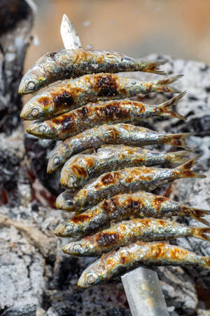 Sardines espeto, Malaga style fish on stick barbecue prepared on olive tree firewoods on beach 스톡 콘텐츠