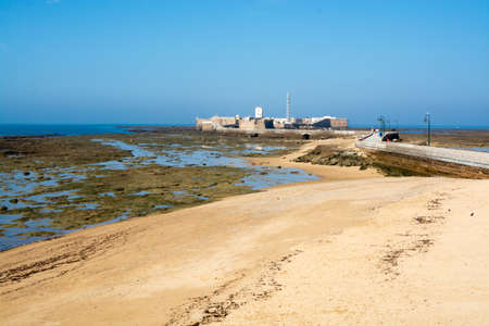 Low tide period on ocean coast and beaches of Cadiz, Andalusia, Spain