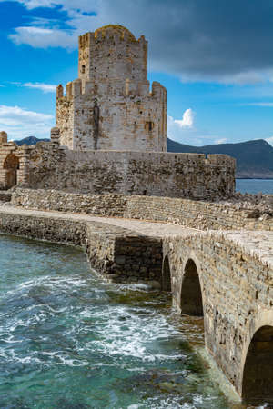 View on old venetian fortress in small greek town Methoni on Peloponnese