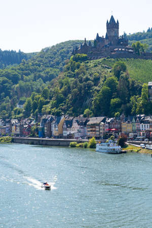 View on small German town Cochem located in Mosel river valley, tourists destination in wine regio in Germany