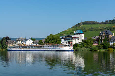 View on small German town located in Mosel river valley, tourists destination in wine regio in Germany