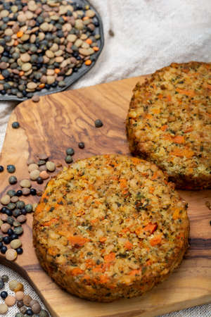 Tasty vegetarian lentils burgers, healthy food close up