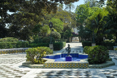 Beautiful parks with ocean view in one of oldest city in Europe, Cadiz, Andalusia, Spain in summer