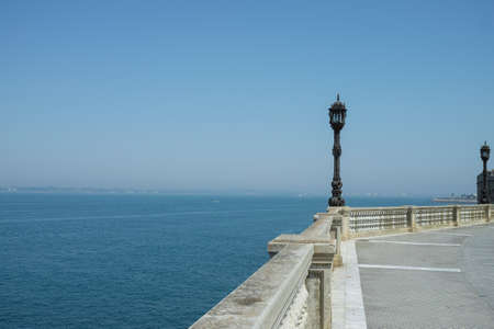 Seafront promenade in one of oldest city in Europe, Cadiz, Andalusia, Spain in summer 写真素材