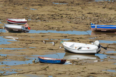 Low tide period on ocean coast of Cadiz, shallow water with fishing boats and seagulls, Andalusia, Spain