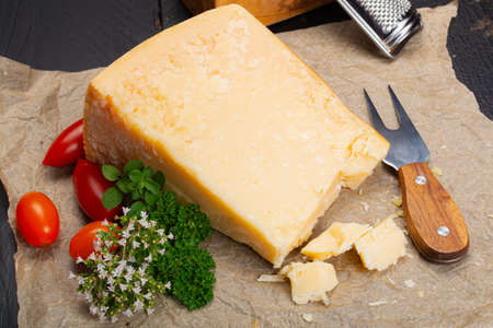 Cheese collection, hard italian cheese, aged parmesan or grana padano cheese close up