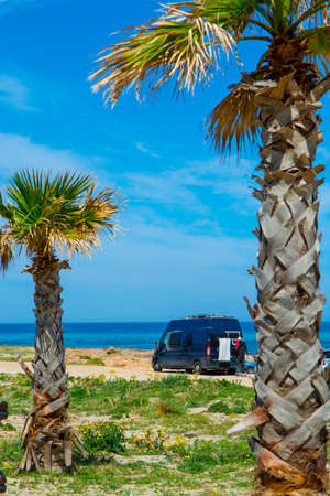 Camper, mobile home or caravan vacation, free parking of sunny beach with palm trees and blue sea