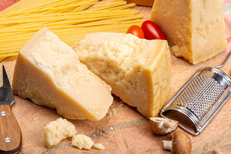 Cheese collection, hard italian cheese, aged parmesan and grana padano cheese  close up 写真素材